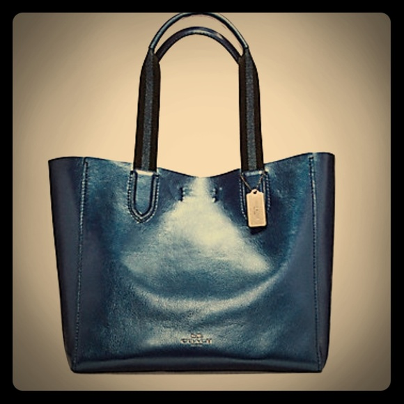 Coach Handbags - Coach large Derby Tote Metallic Blue F59388 78ca838f8c700